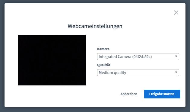 Webcam-Auswahl von BigBlueButton