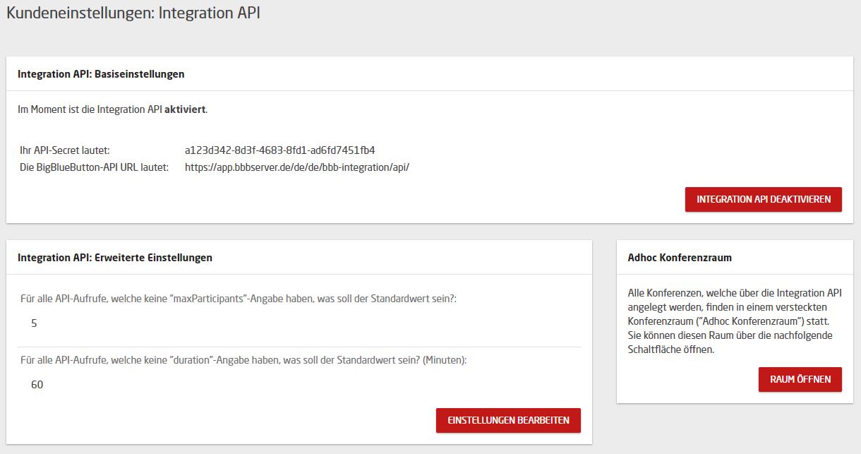 """Aktivierte """"Integration API"""""""